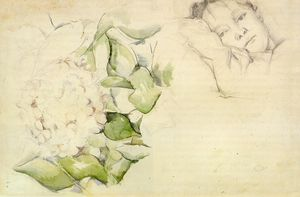 Madame Cezanne (Hortense Fiquet) with Hortensias