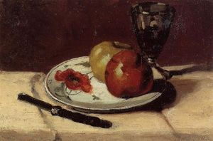 Still Life Apples and a Glass
