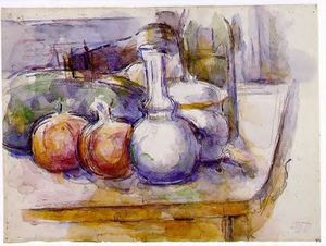 Still Life with Carafe, Sugar Bowl, Bottle, Pommegranates and Watermelon