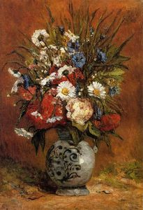 Daisies and Peonies in a Blue Vase