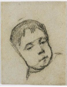 Emil Gauguin as a Child, Head on a Pillow