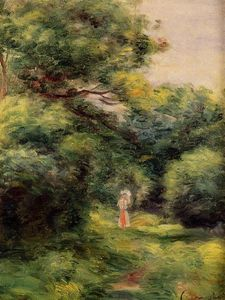 Lane in the Woods, Woman with a Child in Her Arms
