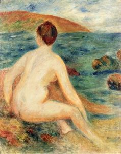 Nude Bather Seated by the Sea