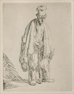 une mendiant  debout  et  se penchant  sur  une  bâton