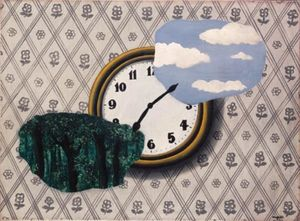 Composition with clock, sky and forest