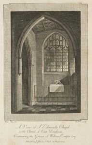 View of St. Edmund's Chapel in the Church of East Dereham, containing the Grave of William Cowper Esquire