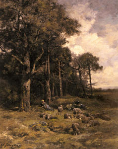 Shepherdess Resting With Her Flock
