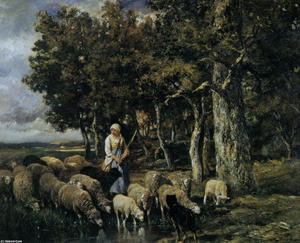 Shepherdess watering flock