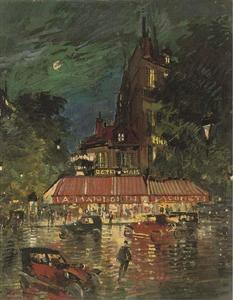 Night time before the Café Mandolin, Paris