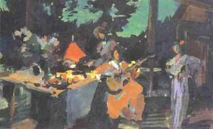 On a Terrace. Evening in the Coutry