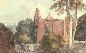 A Figure With A Dog Beside A Ruined Abbey