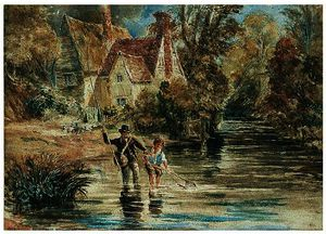 A Man And Child Fishing In A Stream By A Cottage