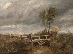 A Woman Crossing A Wooden Bridge In A Stormy Landscape