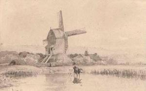 Cattle Watering By A Windmill On Dulwich Common
