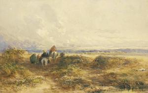 Figures On Horseback Among The Sand Dunes