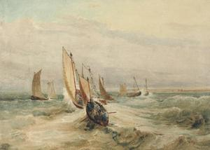 Fishing Boats In A Squall Off Fleet, Hampshire