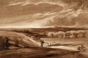 Landscape With Flock Of Sheep