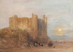 Laugharne Castle, Carmarthen Bay, At Low Tide, A Full Moon Rising