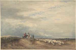 Riders With Sheep Near An Estuary