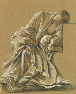 Study of a seated woman, heavily draped