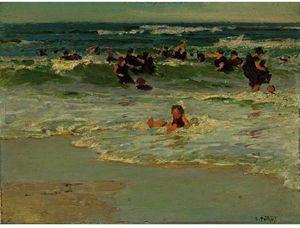 孩子在冲浪