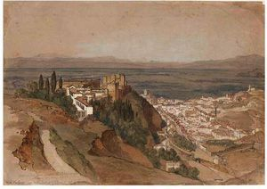 The Alhambra With The Generalife And The Palace Of Charles V From Under La Silla Del Moro