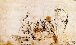 Group of figures around a blacksmith