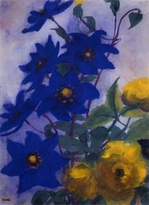 blu aquilegia e giallo rose