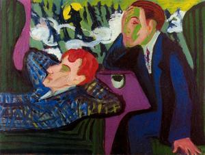 On the train, Albert Müller and Kirchner