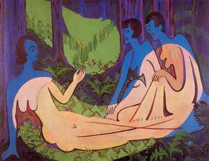 Three nudes in the forrest