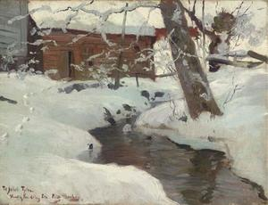 A Snow-covered Cottage by a Stream
