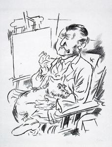 Self-portrait with dog in front of the easel