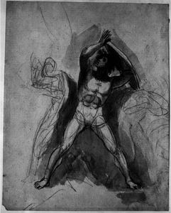 Standing male nude with shield