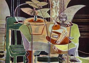 Interior With Palette And Pot Flowers