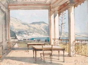 A view of the Bay of Menton from the terrace of the Hotel Prince de Galles