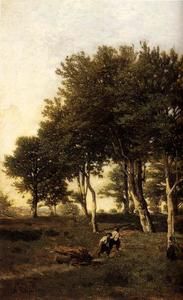 Landscape with Two Boys Carrying Firewood
