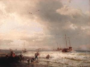 Fishermen by the shore of a stormy sea