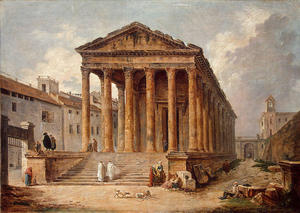 Ancient Temple. The '''Maison Carree'' at Nimes