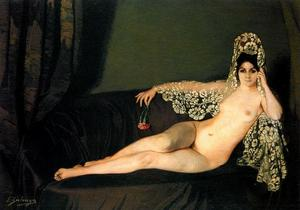 Nude on a sofa with carnation