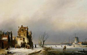 A Winter Landscape with Skaters near a Village