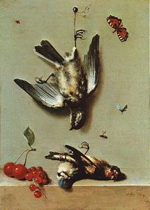 Nature morte avec oiseux morts et cerises