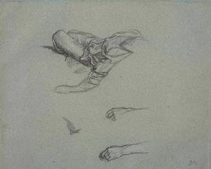 Study of hands and a reclining figure