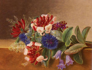 A Still Life with Honeysuckle, Blue Cornflowers and Bluebells on a Marble Ledge
