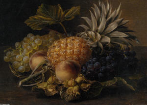 Fruit and Hazlenuts in a Basket