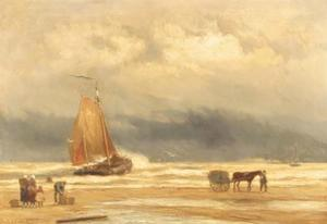 A coastal scene with a shell fisher, fishmongers and a bomschuit in the surf