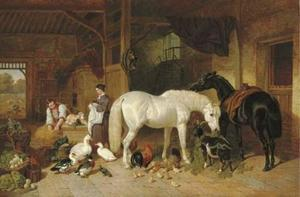 A barn interior with figures and livestock