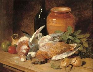 Still life of dead birds, fruit, vegetables, a bottle and a jar