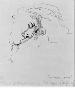 Sketch Head of Ghost Governess for ''Turn of the Screw'' by Henry James