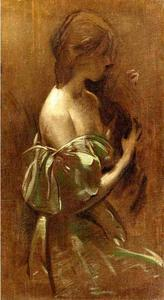 Portrait of a Woman in an Off-the-Shoulder Gown