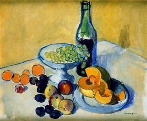 Melon, Fruit And Wine Bottle